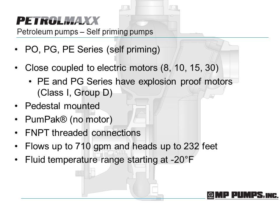 Petroleum pumps – Self priming pumps PO, PG, PE Series (self priming) Close coupled to electric motors (8, 10, 15, 30) PE and PG Series have explosion