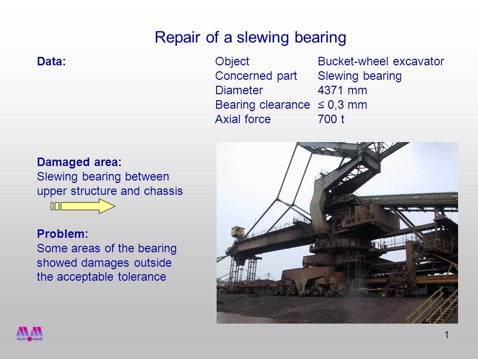 1 Data:ObjectBucket-wheel excavator Concerned partSlewing bearing Diameter4371 mm Bearing clearance 0,3 mm Axial force700 t Damaged area: Slewing bearing between upper structure and chassis Problem: Some areas of the bearing showed damages outside the acceptable tolerance Repair of a slewing bearing