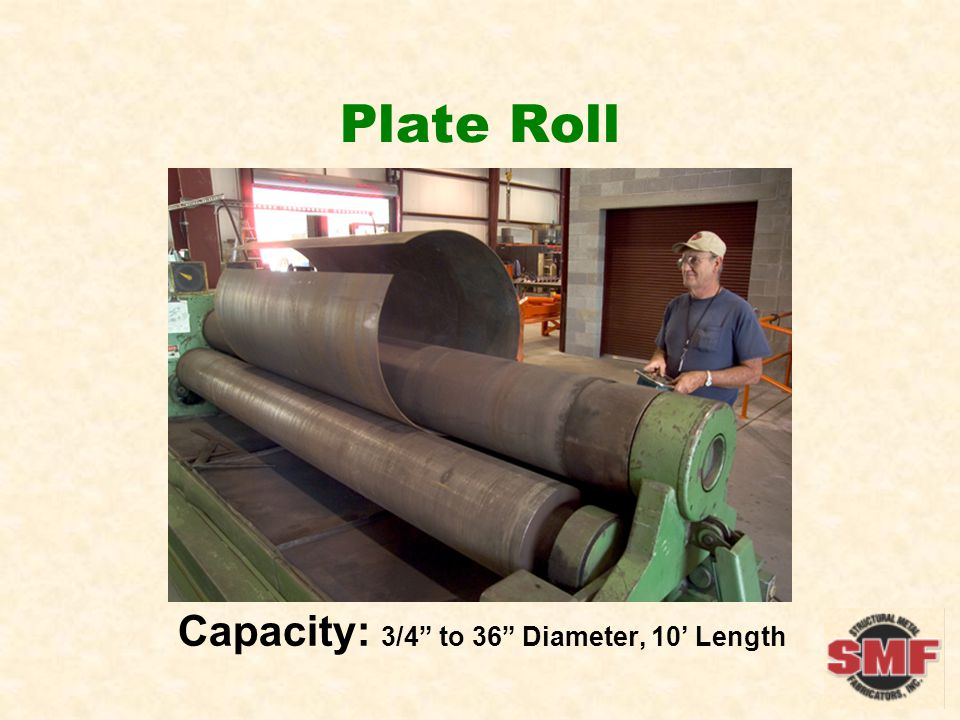 Plate Roll Capacity: 3/4 to 36 Diameter, 10 Length