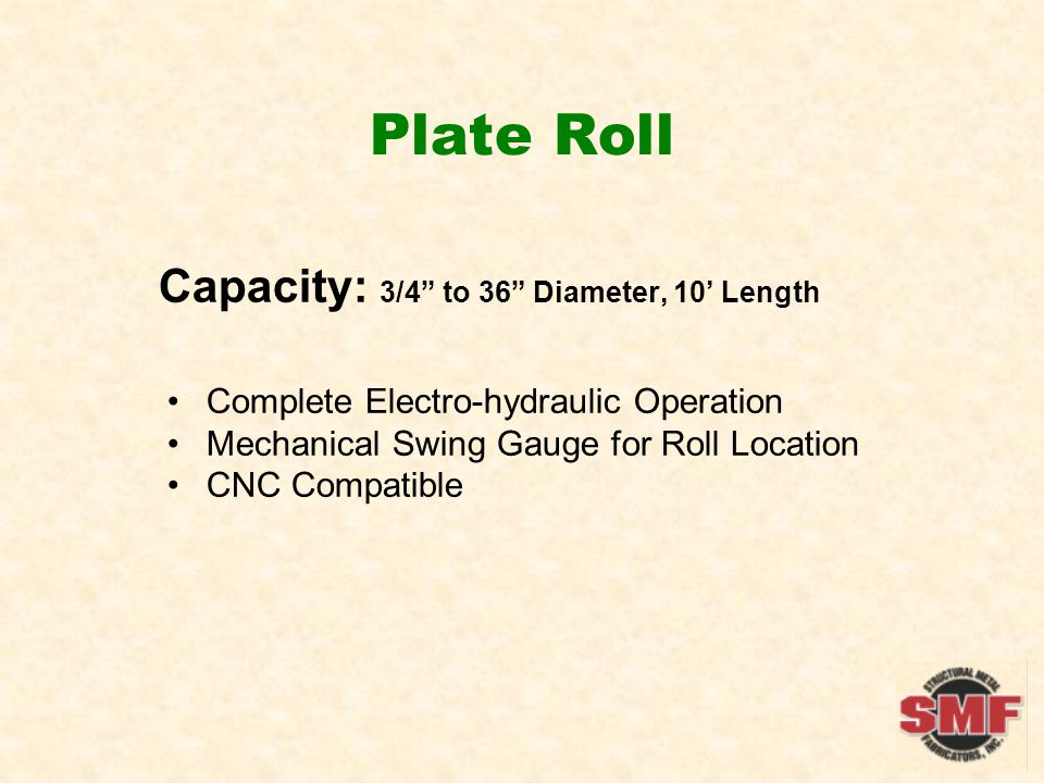 Plate Roll Capacity: 3/4 to 36 Diameter, 10 Length Complete Electro-hydraulic Operation Mechanical Swing Gauge for Roll Location CNC Compatible