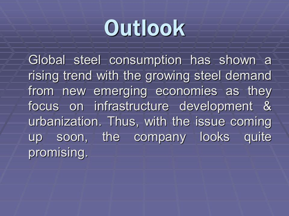 Outlook Global steel consumption has shown a rising trend with the growing steel demand from new emerging economies as they focus on infrastructure development & urbanization.