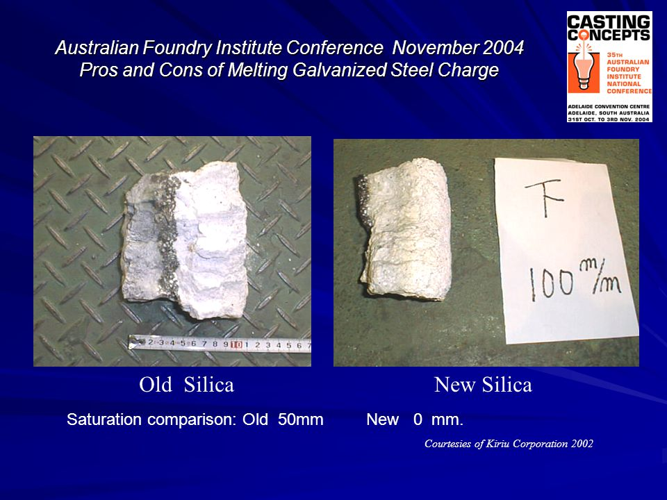 Courtesies of Kiriu Corporation 2002 Old Silica New Silica Australian Foundry Institute Conference November 2004 Pros and Cons of Melting Galvanized S