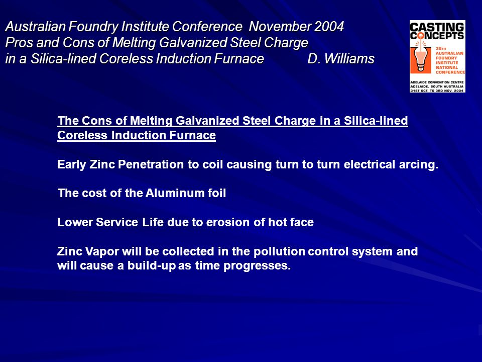 The Cons of Melting Galvanized Steel Charge in a Silica-lined Coreless Induction Furnace Early Zinc Penetration to coil causing turn to turn electrica
