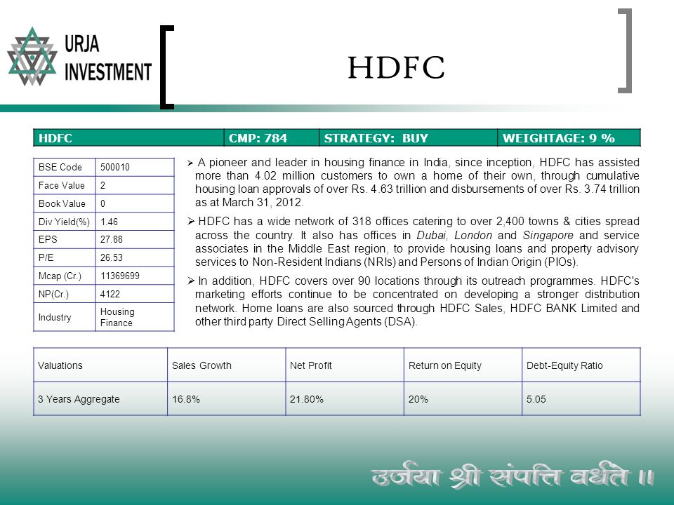 HDFC A pioneer and leader in housing finance in India, since inception, HDFC has assisted more than 4.02 million customers to own a home of their own,