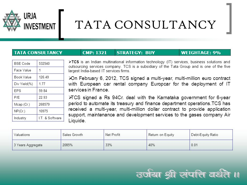 TATA CONSULTANCY TCS is an Indian multinational information technology (IT) services, business solutions and outsourcing services company. TCS is a su