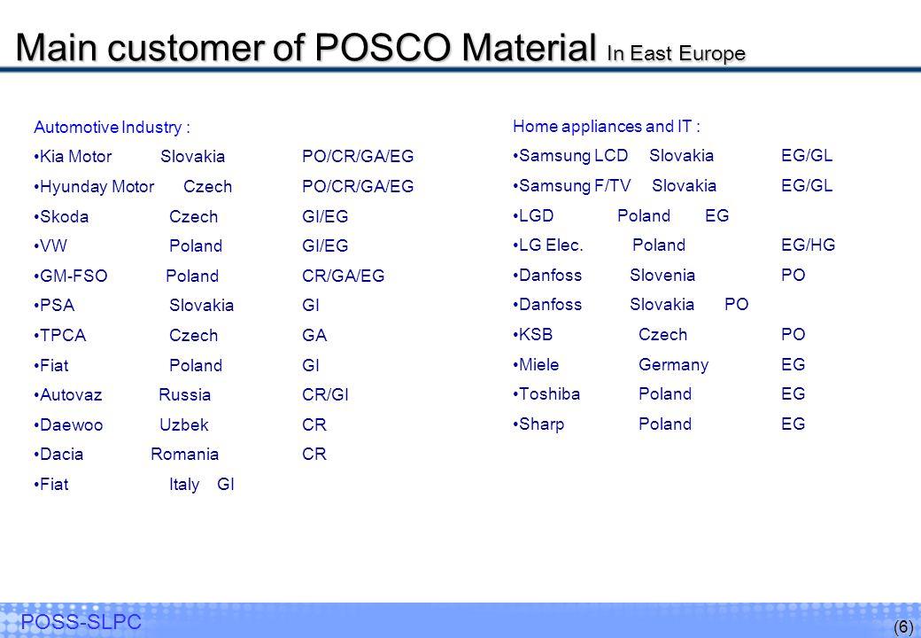 (6) POSS-SLPC Automotive Industry : Kia Motor Slovakia PO/CR/GA/EG Hyunday Motor Czech PO/CR/GA/EG Skoda Czech GI/EG VW Poland GI/EG GM-FSO Poland CR/GA/EG PSA Slovakia GI TPCA Czech GA Fiat Poland GI Autovaz Russia CR/GI Daewoo Uzbek CR Dacia Romania CR Fiat Italy GI Home appliances and IT : Samsung LCD Slovakia EG/GL Samsung F/TV Slovakia EG/GL LGD Poland EG LG Elec.