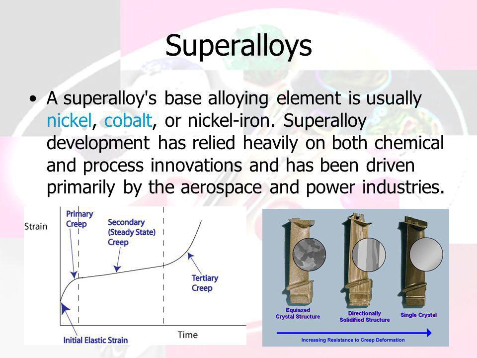 Superalloys A superalloy's base alloying element is usually nickel, cobalt, or nickel-iron. Superalloy development has relied heavily on both chemical