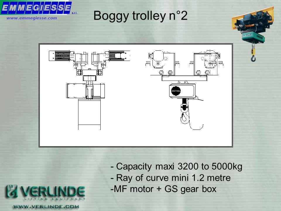 - Capacity max 3200kg - Ray of curve mini 0.8 metre - TMU motor Boggy trolley n°1 www.emmegiesse.com
