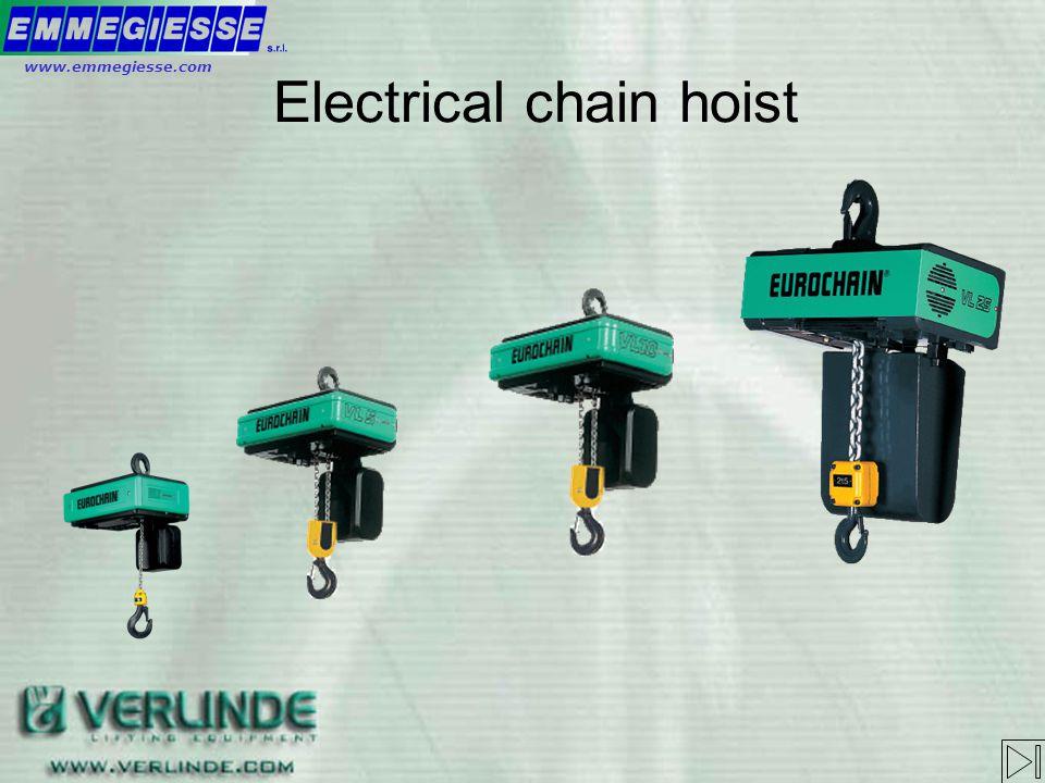 Electrical chain hoist Electrical trolley Push trolley Special hoist Sequence of trainingwww.emmegiesse.com