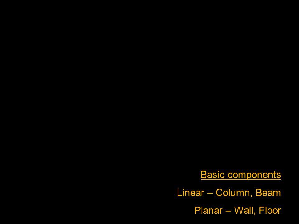 Basic components Linear – Column, Beam Planar – Wall, Floor