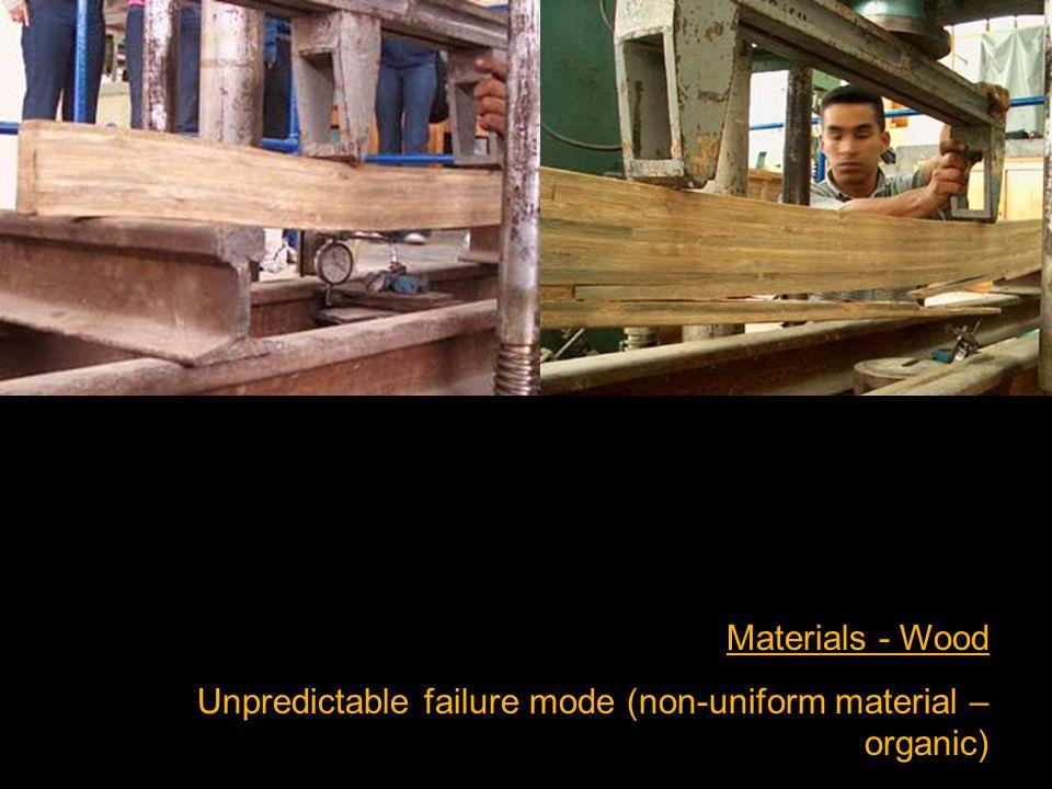 Materials - Wood Unpredictable failure mode (non-uniform material – organic)