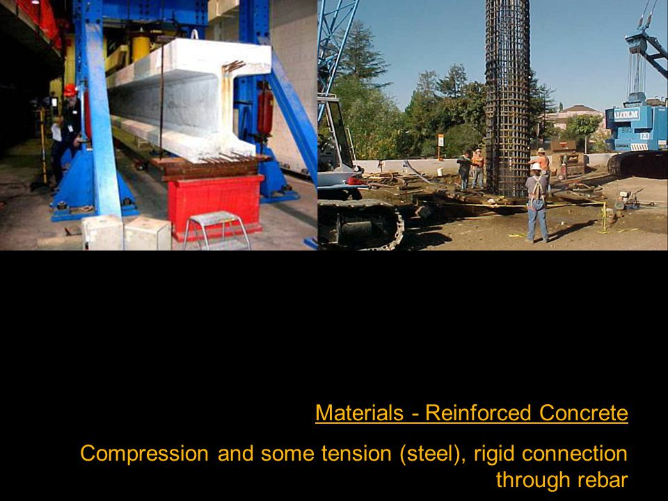 Materials - Reinforced Concrete Compression and some tension (steel), rigid connection through rebar