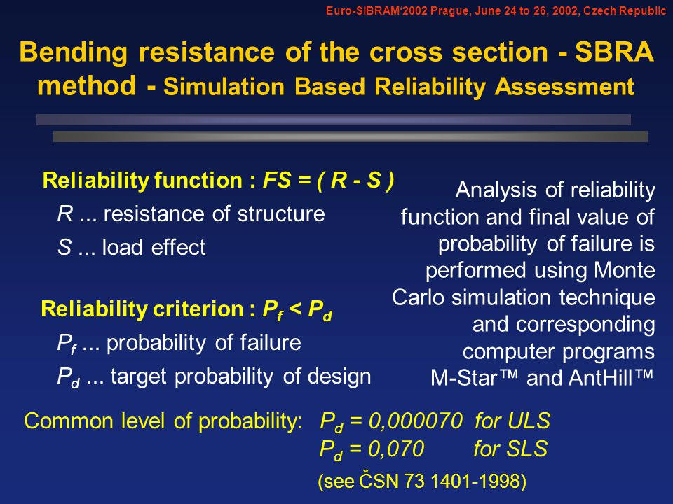 Reliability criterion : P f < P d Common level of probability: P d = 0,000070 for ULS Reliability function : FS = ( R - S ) P f...