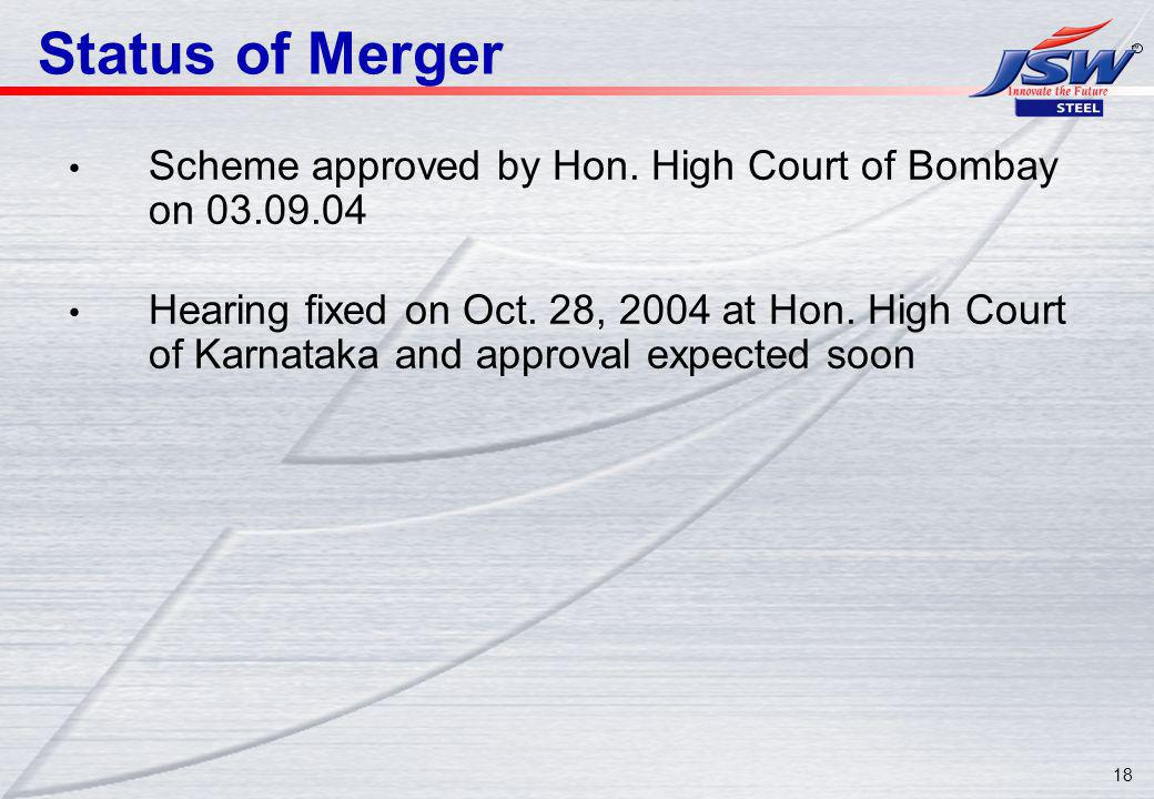 18 Status of Merger Scheme approved by Hon. High Court of Bombay on 03.09.04 Hearing fixed on Oct.