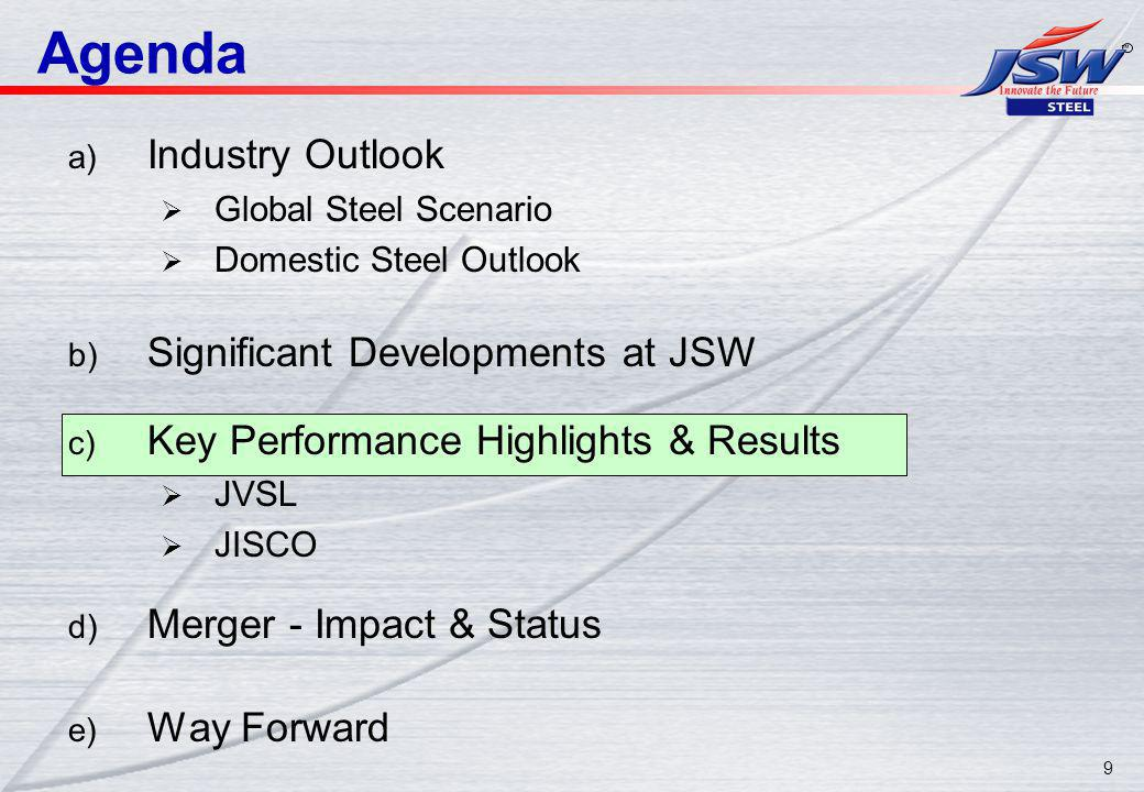 9 Agenda a) Industry Outlook Global Steel Scenario Domestic Steel Outlook b) Significant Developments at JSW c) Key Performance Highlights & Results JVSL JISCO d) Merger - Impact & Status e) Way Forward
