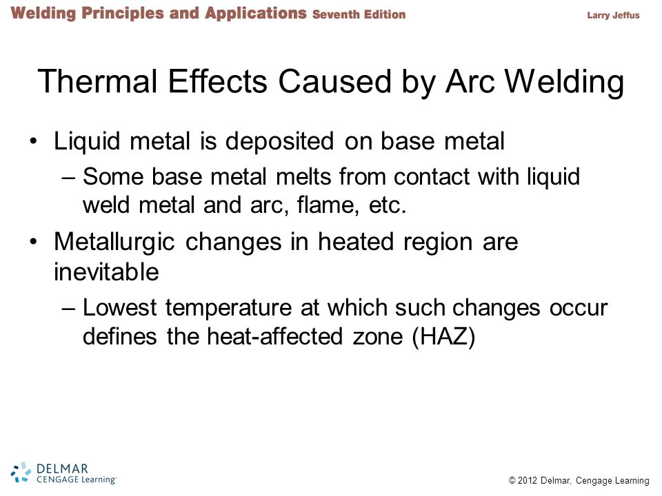 © 2012 Delmar, Cengage Learning Thermal Effects Caused by Arc Welding Liquid metal is deposited on base metal –Some base metal melts from contact with