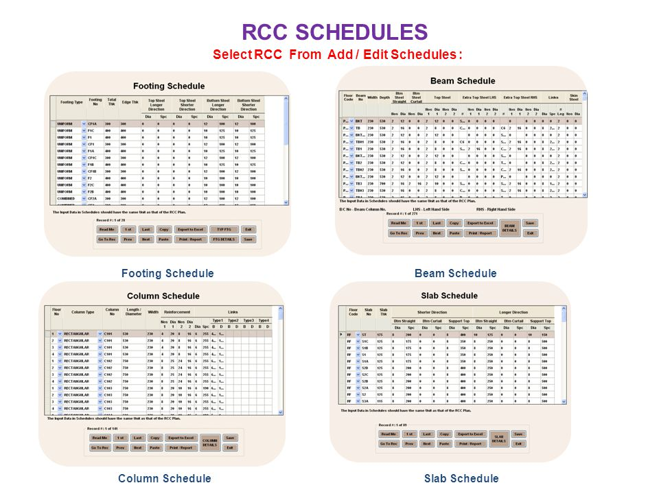 RCC SCHEDULES Select RCC From Add / Edit Schedules : Footing ScheduleBeam Schedule Column ScheduleSlab Schedule