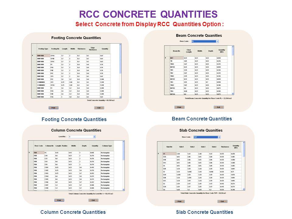 RCC CONCRETE QUANTITIES Select Concrete from Display RCC Quantities Option : Footing Concrete Quantities Beam Concrete Quantities Column Concrete Quan