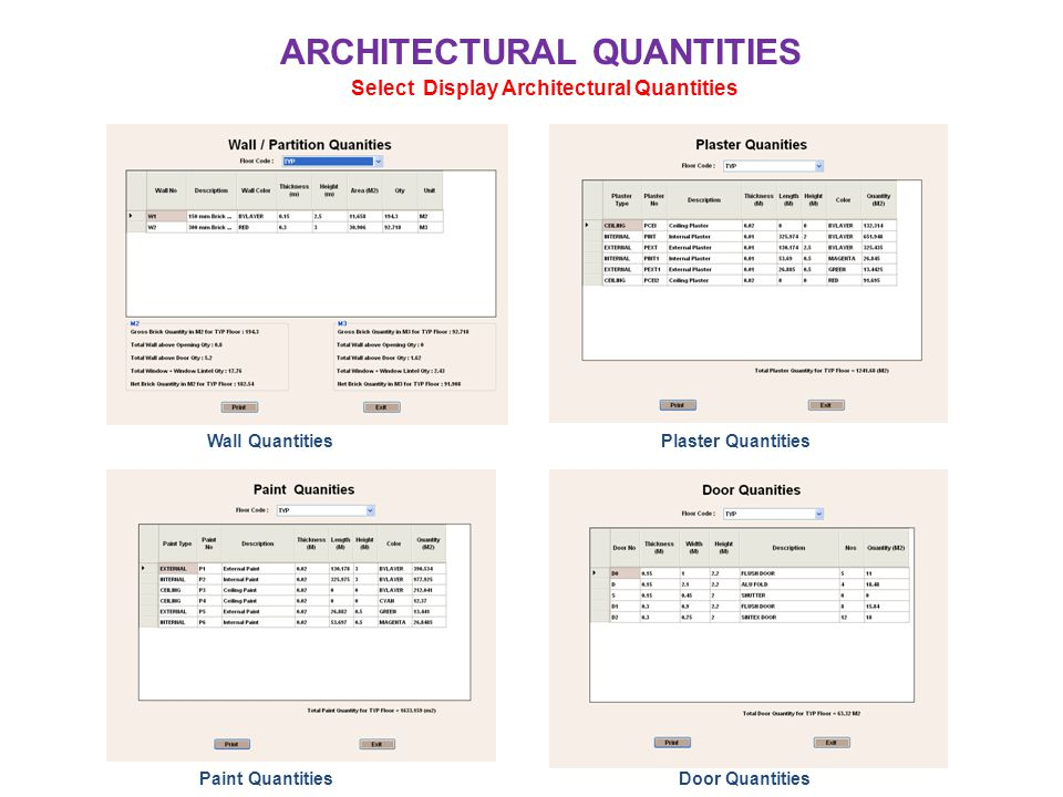 ARCHITECTURAL QUANTITIES Select Display Architectural Quantities Wall QuantitiesPlaster Quantities Paint QuantitiesDoor Quantities