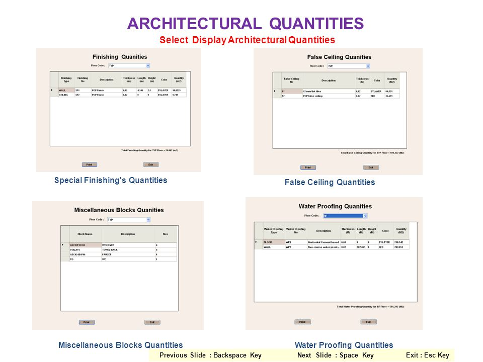 ARCHITECTURAL QUANTITIES Select Display Architectural Quantities Special Finishing's Quantities False Ceiling Quantities Miscellaneous Blocks Quantiti