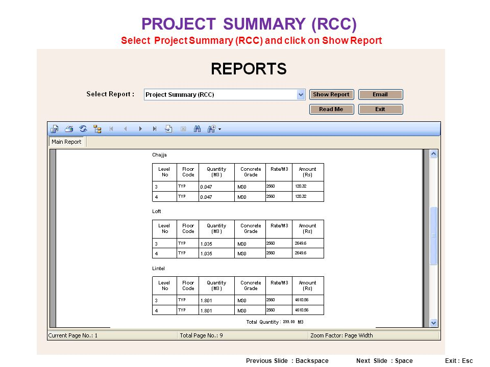PROJECT SUMMARY (RCC) Select Project Summary (RCC) and click on Show Report Previous Slide : Backspace Next Slide : Space Exit : Esc