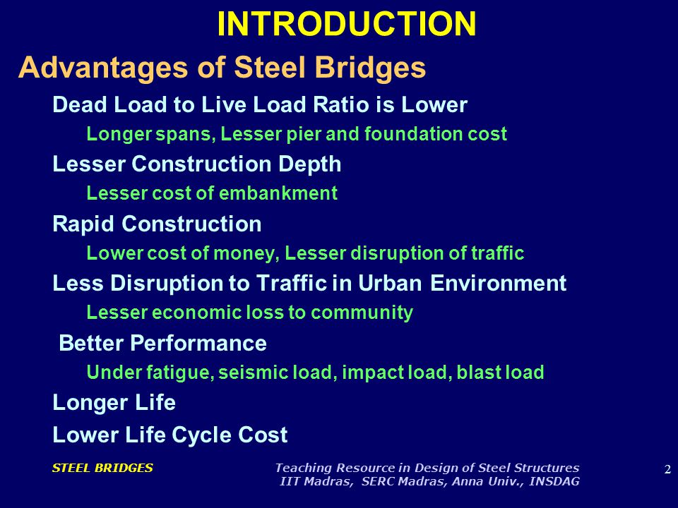 23 STEEL BRIDGES Teaching Resource in Design of Steel Structures IIT Madras, SERC Madras, Anna Univ., INSDAG CABLE SUSPENDED BRIDGE
