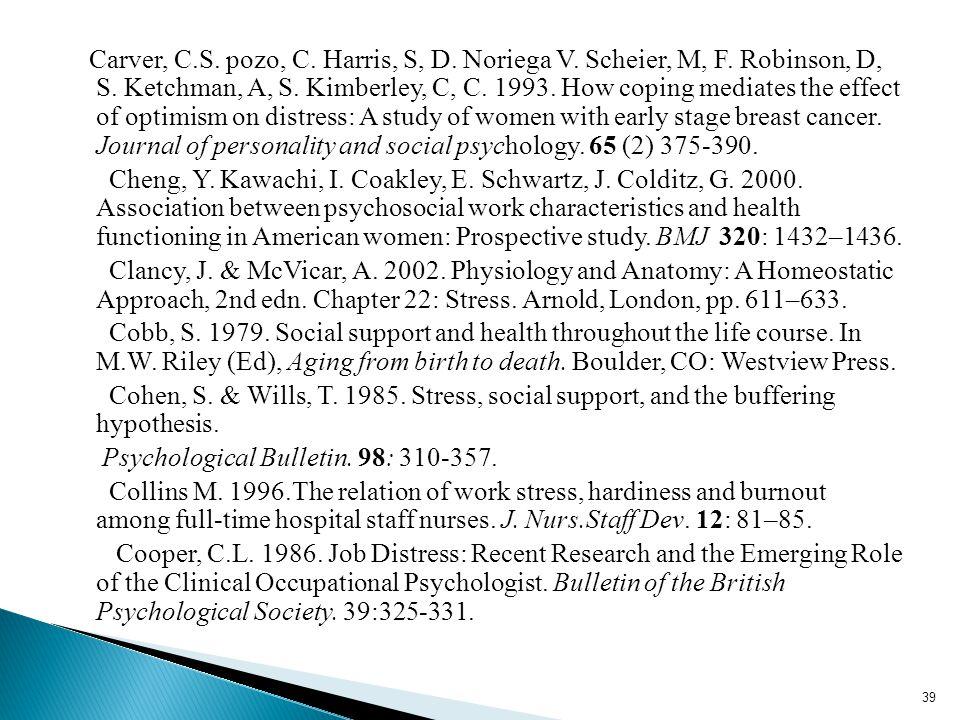 Carver, C.S. pozo, C. Harris, S, D. Noriega V. Scheier, M, F.