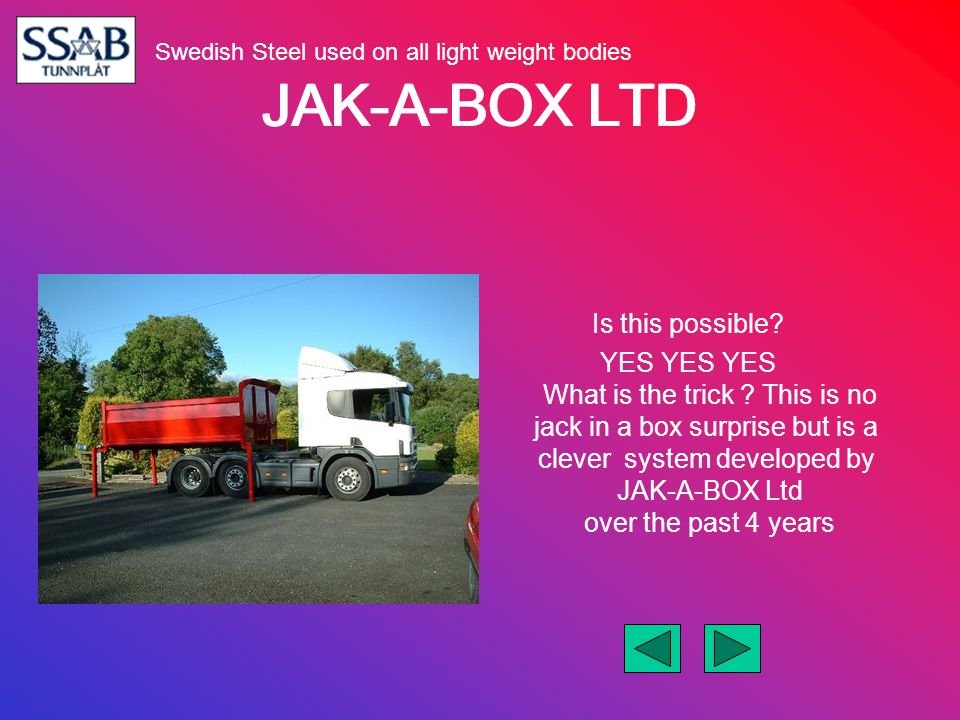 JAK-A-BOX LTD Is this possible? YES YES YES What is the trick ? This is no jack in a box surprise but is a clever system developed by JAK-A-BOX Ltd ov
