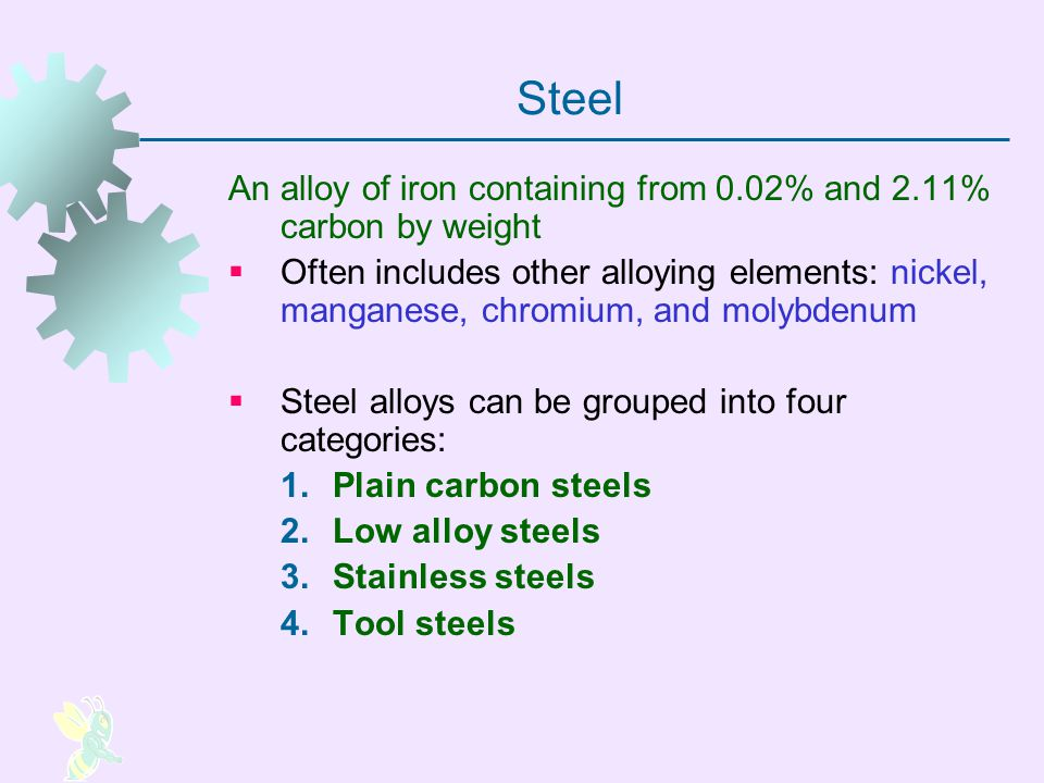 Plain Carbon Steels Carbon is the principal alloying element, with only small amounts of other elements (about 0.5% manganese is normal) Strength of plain carbon steels increases with carbon content, but ductility is reduced High carbon steels can be heat treated to form martensite, making the steel very hard and strong Carbon StrengthCarbon Ductility
