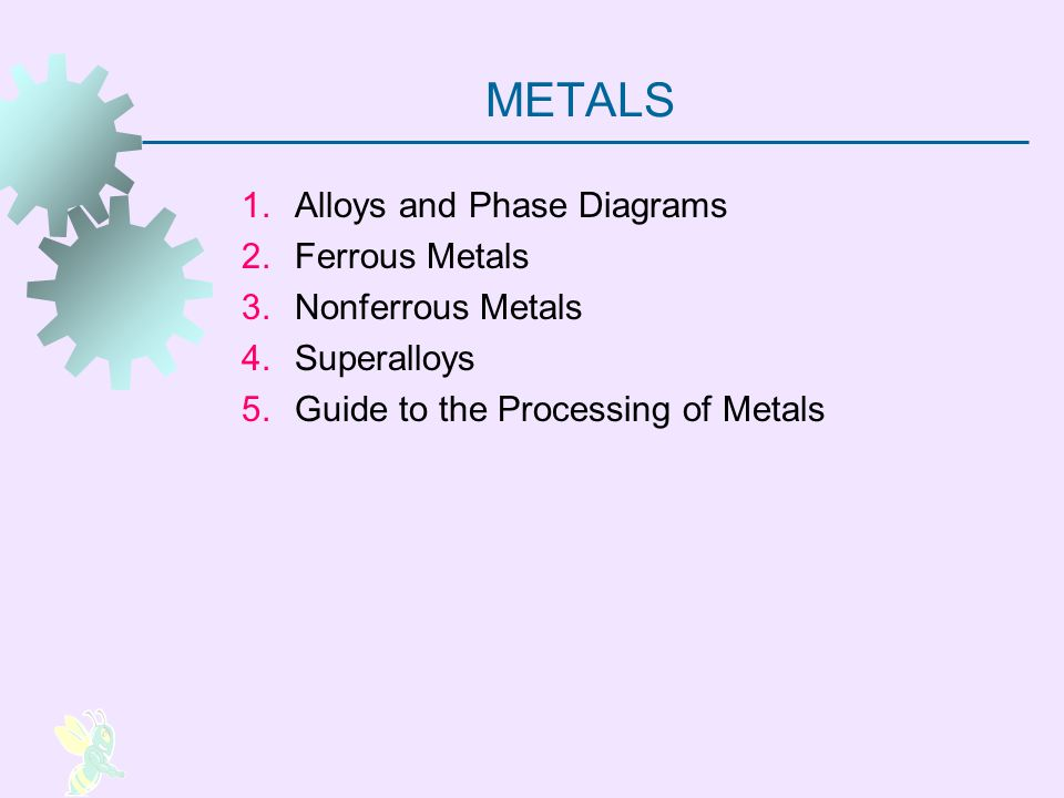 METALS 1.Alloys and Phase Diagrams 2.Ferrous Metals 3.Nonferrous Metals 4.Superalloys 5.Guide to the Processing of Metals