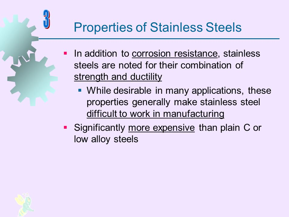 Types of Stainless Steel Classified according to the predominant phase present at ambient temperature: 1.Austenitic stainless typical composition 18% Cr and 8% Ni 2.Ferritic stainless about 15% to 20% Cr, low C, and no Ni 3.Martensitic stainless as much as 18% Cr but no Ni, higher C content than ferritic stainless