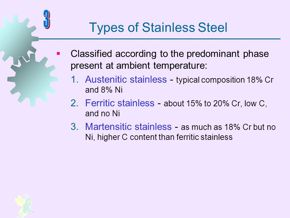 Designation Scheme for Stainless Steels Three digit AISI numbering scheme First digit indicates general type, and last two digits give specific grade within type Examples: Type 302 – Austenitic SS 18% Cr, 8% Ni, 2% Mn, 0.15% C Type 430 – Ferritic SS 17% Cr, 0% Ni, 1% Mn, 0.12% C Type 440 – Martensitic SS 17% Cr, 0% Ni, 1% Mn, 0.65% C