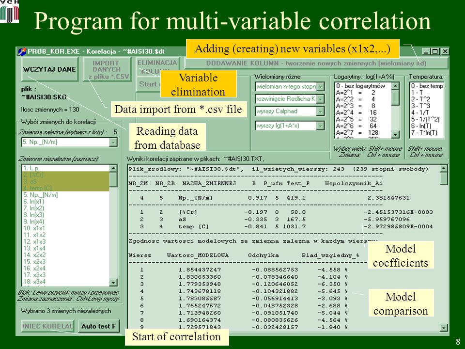 8 Program for multi-variable correlation Adding (creating) new variables (x1x2,...) Variable elimination Data import from *.csv file Start of correlation Reading data from database Model coefficients Model comparison