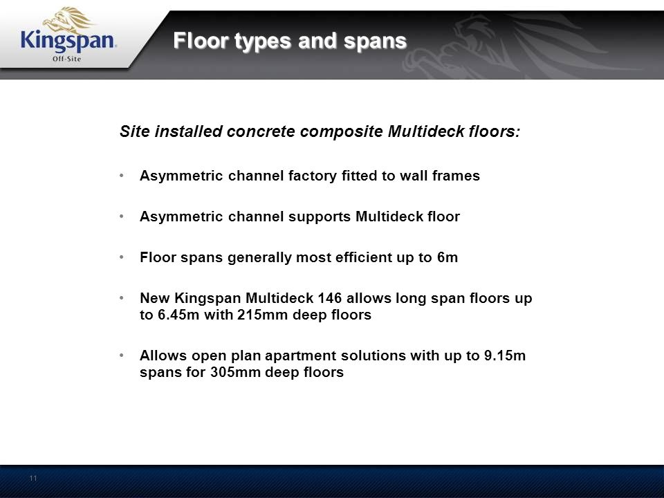 11 Floor types and spans Site installed concrete composite Multideck floors: Asymmetric channel factory fitted to wall frames Asymmetric channel suppo