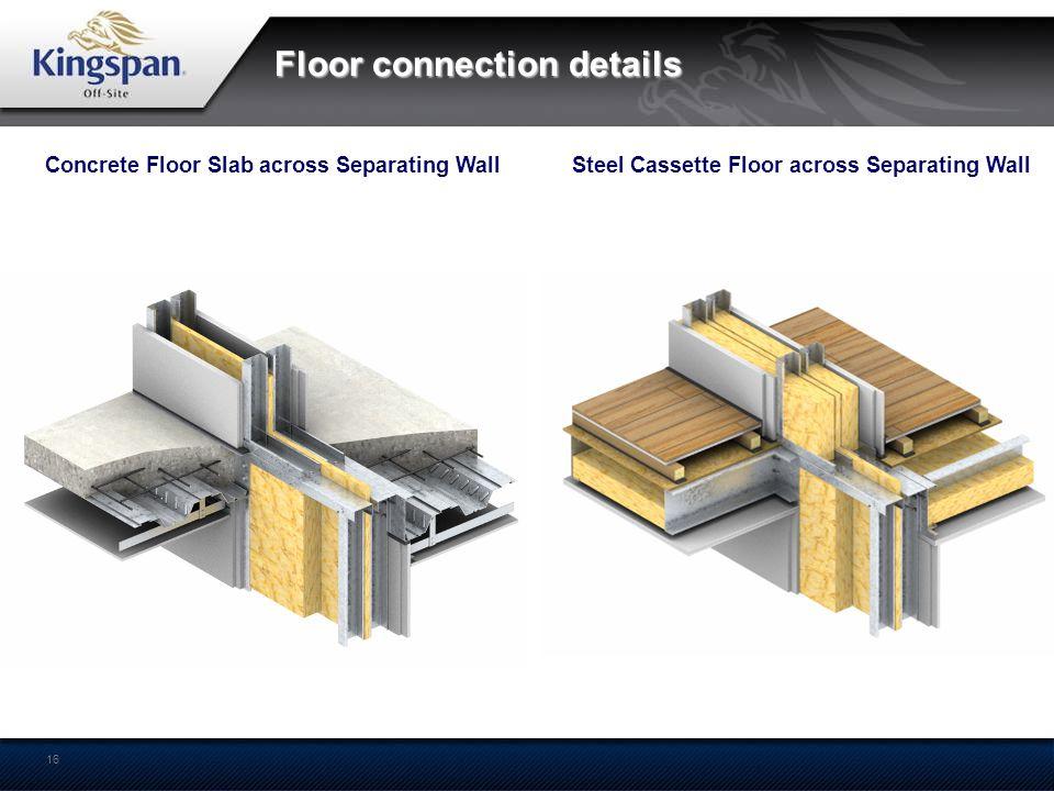 16 Floor connection details Concrete Floor Slab across Separating WallSteel Cassette Floor across Separating Wall