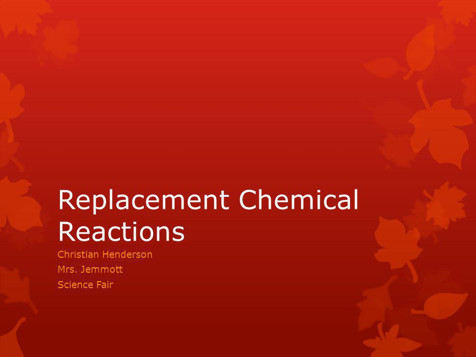 A Single Replacement Reaction is a type of oxidation-reduction chemical reaction where one element takes the place of another in a compound.