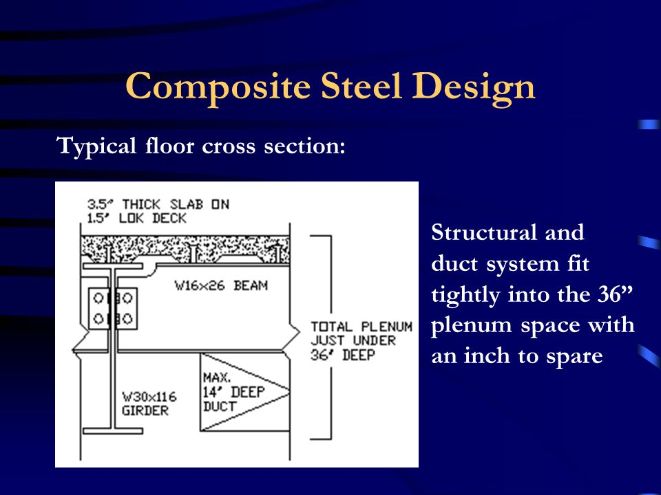 Composite Steel Design Typical change in spread footing: –Flat slab concrete design: 8-0 square by 46 deep –Composite steel design: 6-6 square by 36 deep –Savings of 5 to 15 yards of concrete for every footing