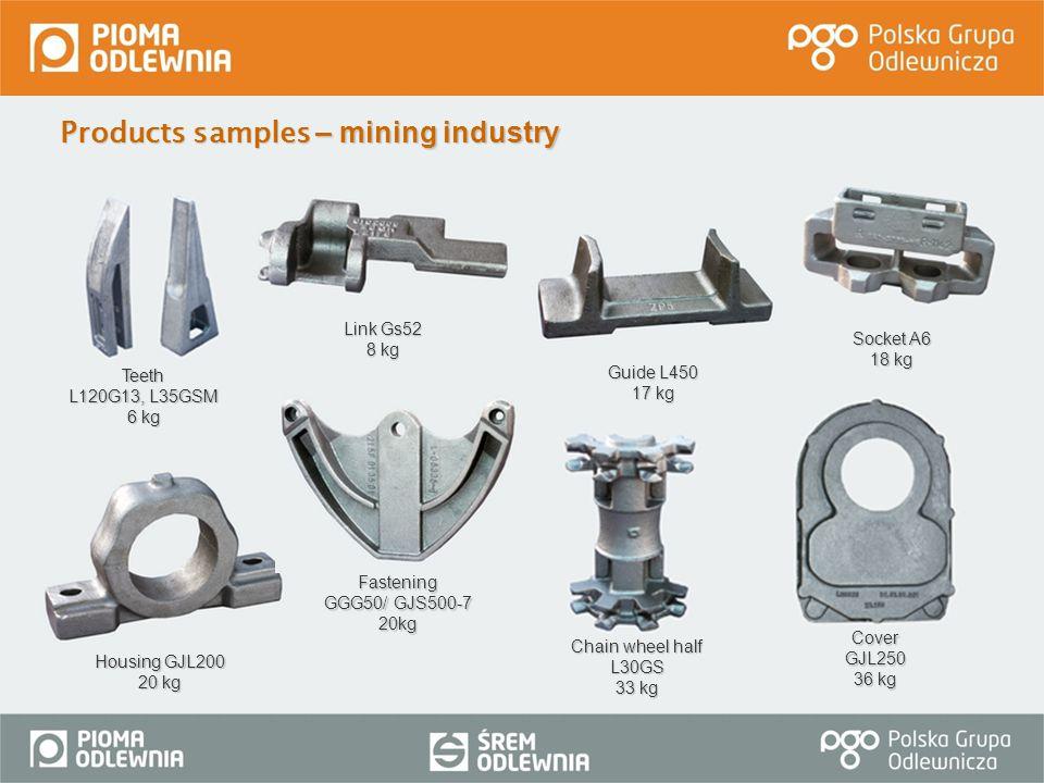 Products samples – mining industry CoverGJL250 36 kg Teeth L120G13, L35GSM 6 kg Chain wheel half L30GS 33 kg Guide L450 17 kg Socket A6 18 kg Housing