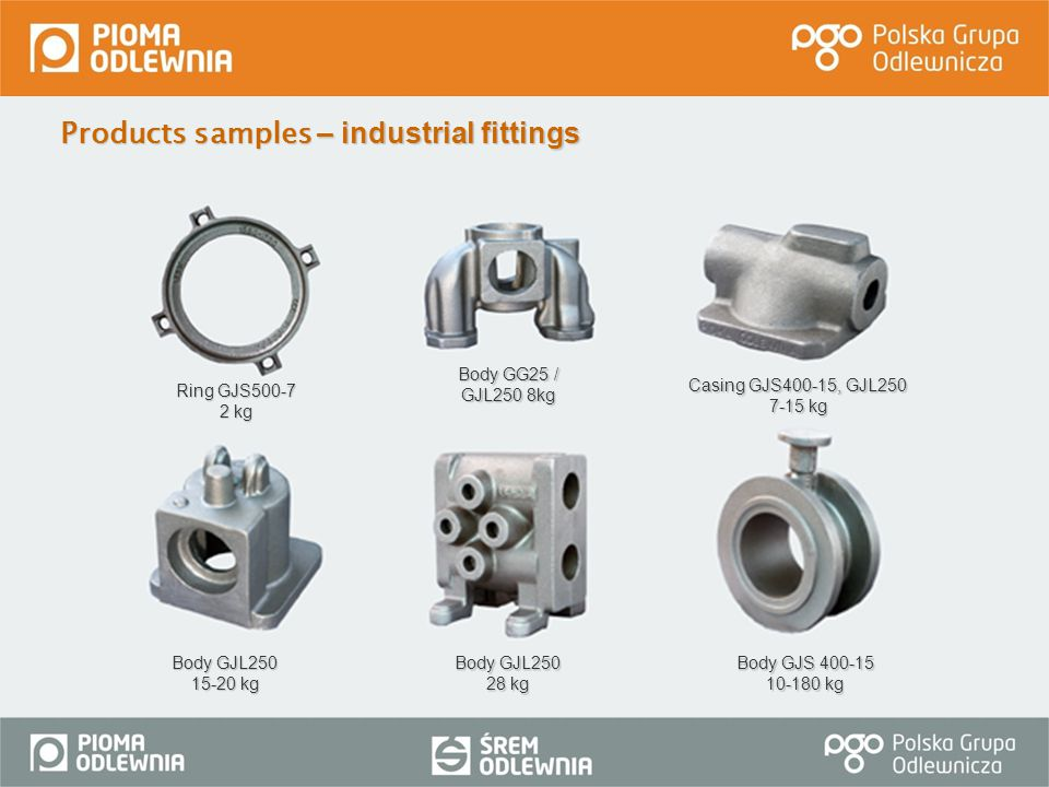 Products samples – industrial fittings Body GG25 / GJL250 8kg Body GJL250 28 kg Body GJS 400-15 10-180 kg Ring GJS500-7 2 kg Body GJL250 15-20 kg Casi