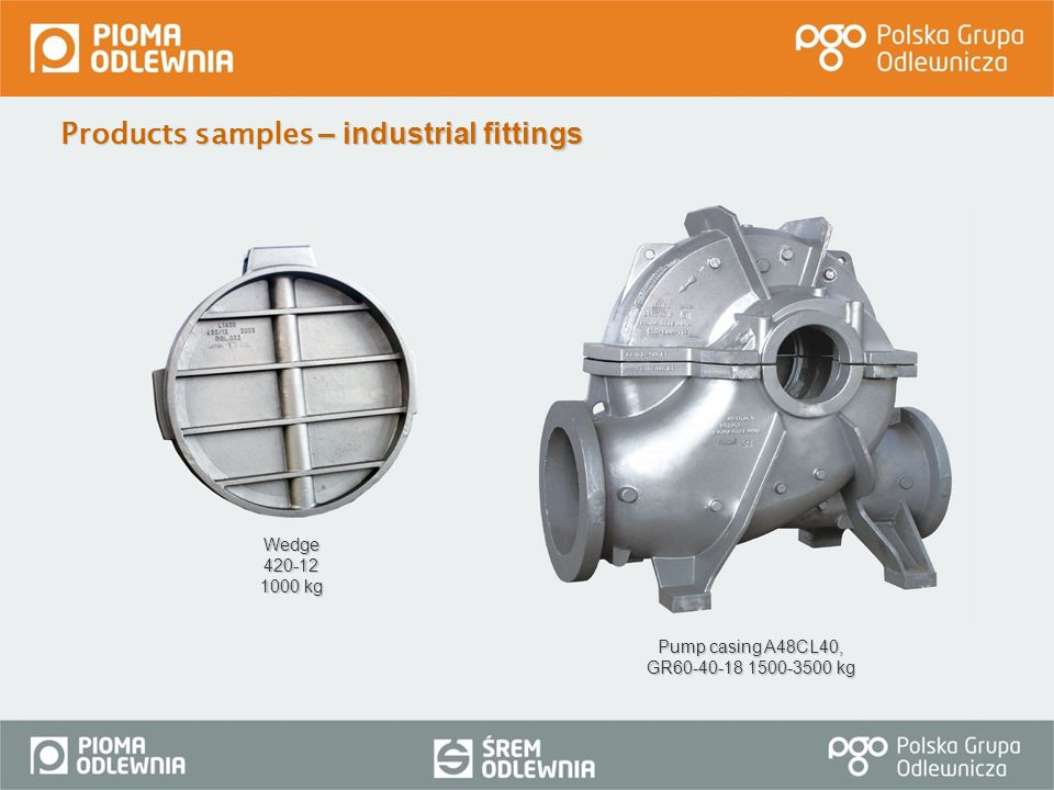 Products samples – industrial fittings Wedge 420-12 1000 kg Pump casing A48CL40, GR60-40-18 1500-3500 kg