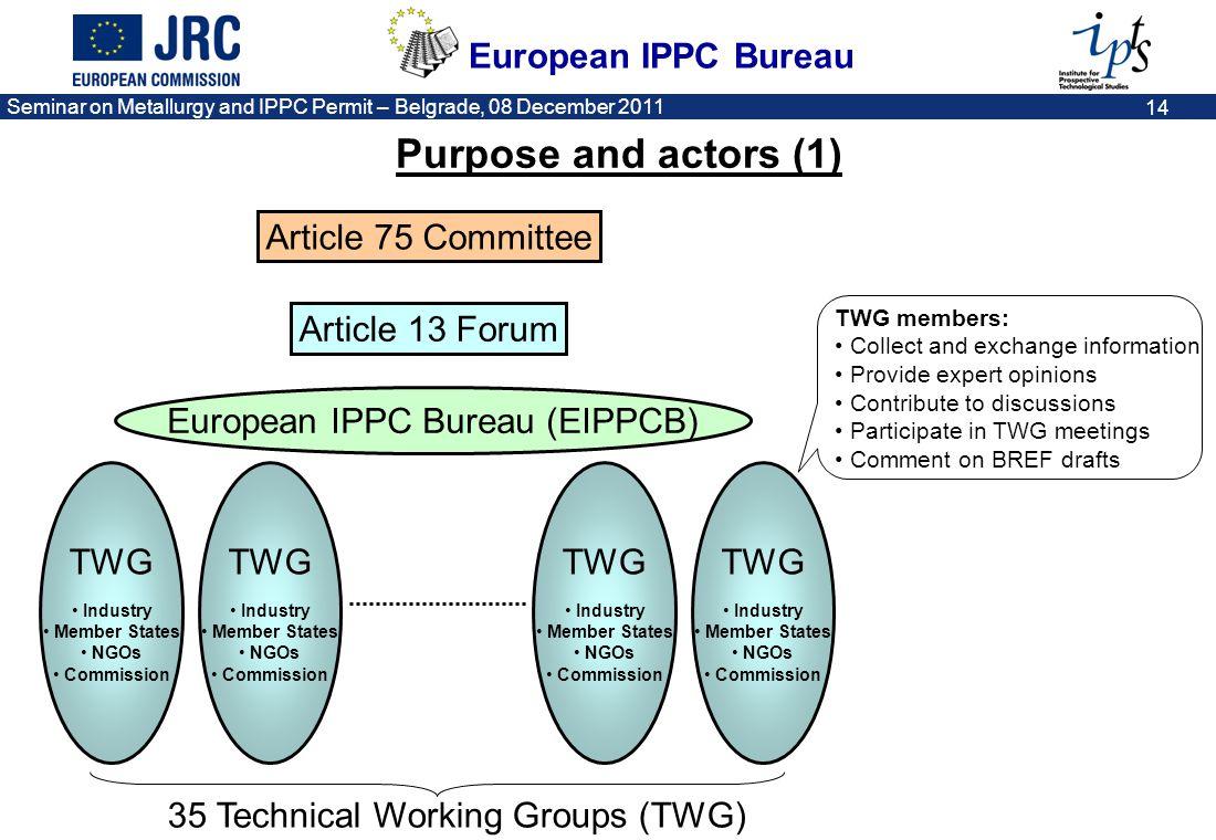 European IPPC Bureau Seminar on Metallurgy and IPPC Permit – Belgrade, 08 December 2011 14 TWG Industry Member States NGOs Commission TWG Industry Mem