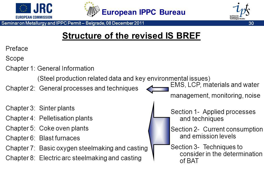 European IPPC Bureau Seminar on Metallurgy and IPPC Permit – Belgrade, 08 December 2011 30 Preface Scope Chapter 1: General Information (Steel product