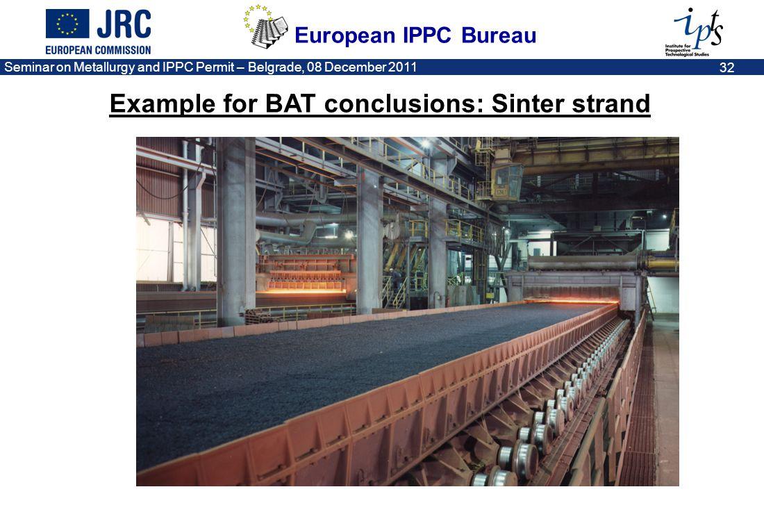 European IPPC Bureau Seminar on Metallurgy and IPPC Permit – Belgrade, 08 December 2011 32 Example for BAT conclusions: Sinter strand