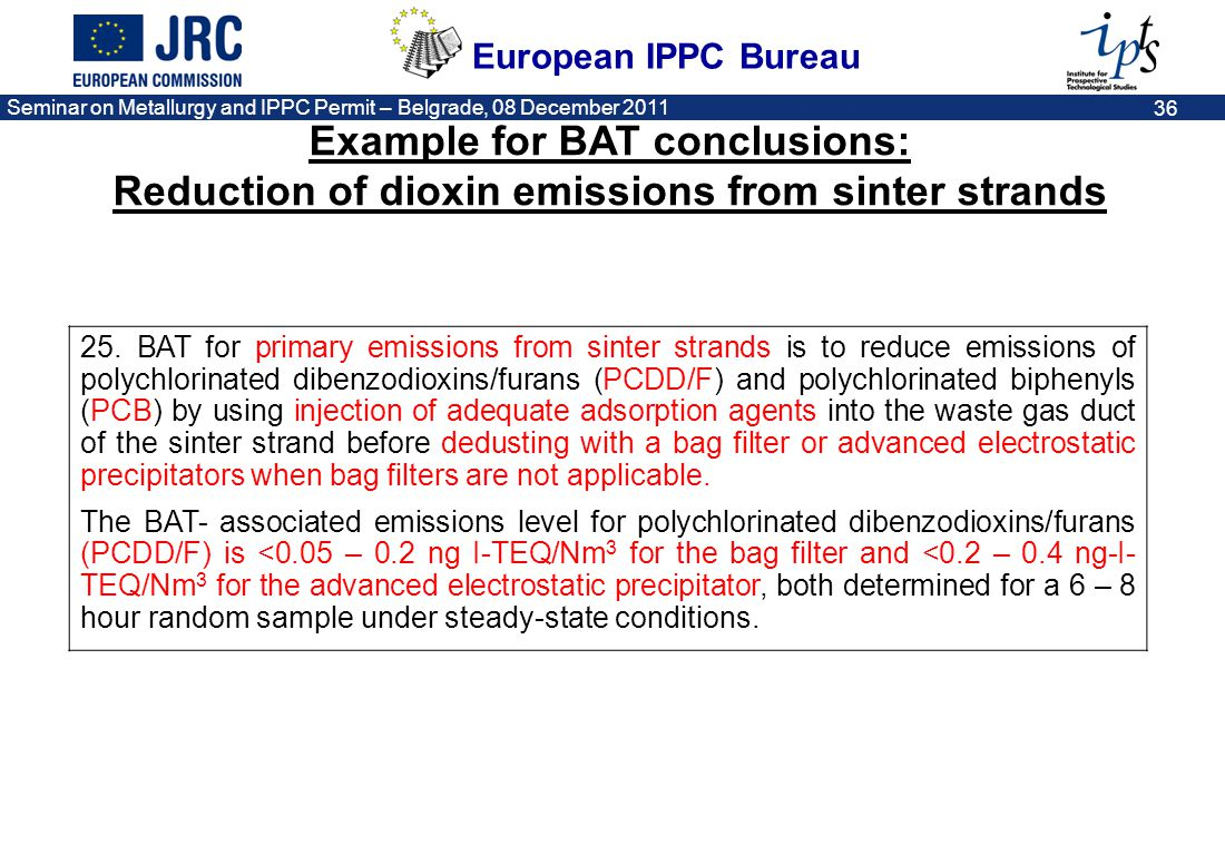 European IPPC Bureau Seminar on Metallurgy and IPPC Permit – Belgrade, 08 December 2011 37 Example for BAT conclusions: Electric Arc Furnace