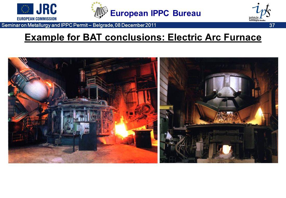European IPPC Bureau Seminar on Metallurgy and IPPC Permit – Belgrade, 08 December 2011 37 Example for BAT conclusions: Electric Arc Furnace