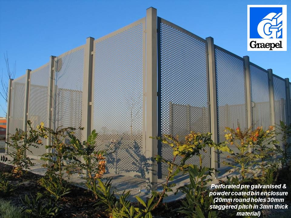 Perforated pre galvanised & powder coated bin enclosure (20mm round holes 30mm staggered pitch in 3mm thick material)