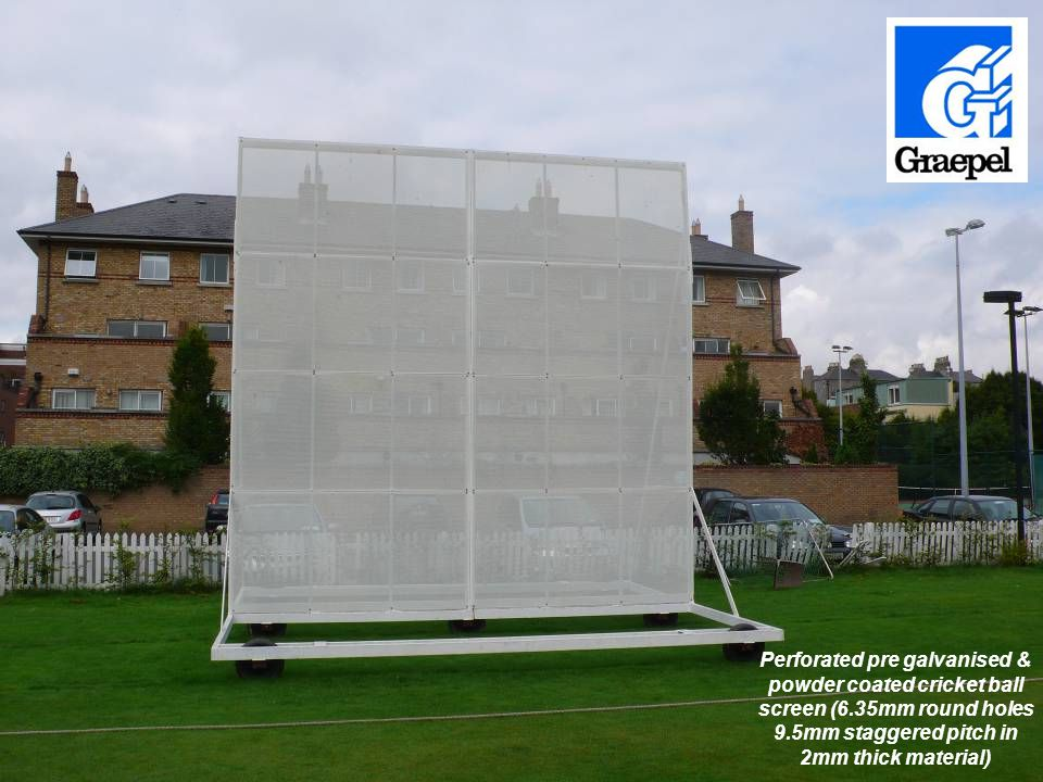 Perforated pre galvanised & powder coated cricket ball screen (6.35mm round holes 9.5mm staggered pitch in 2mm thick material)