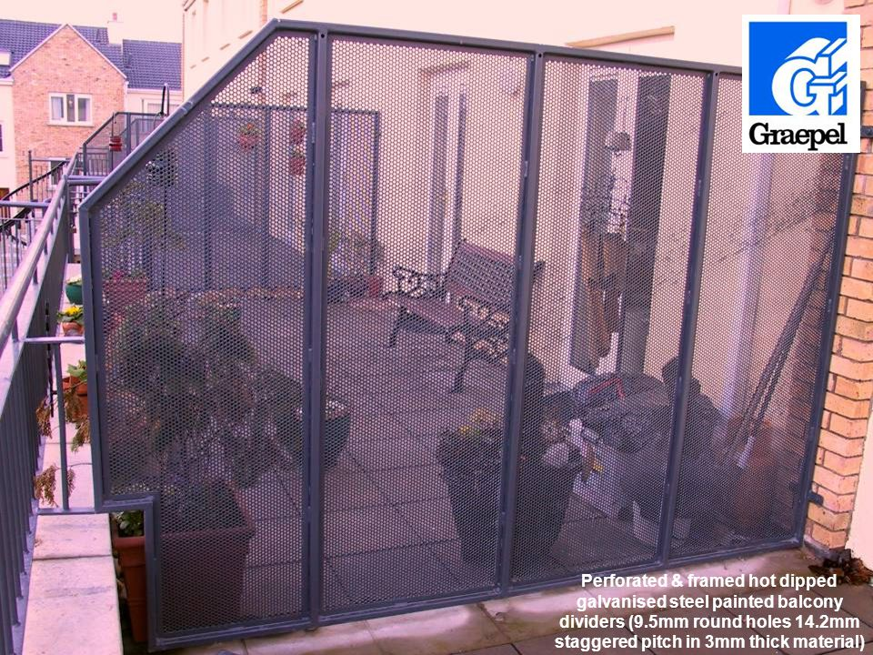 Perforated & framed hot dipped galvanised steel painted balcony dividers (9.5mm round holes 14.2mm staggered pitch in 3mm thick material)