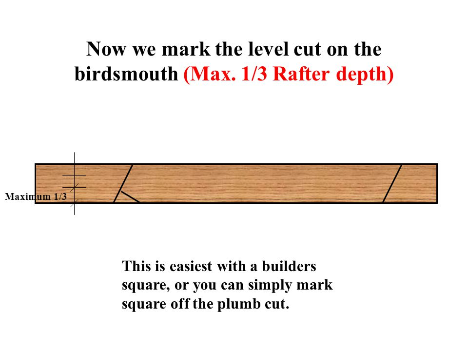Now we mark the level cut on the birdsmouth (Max.