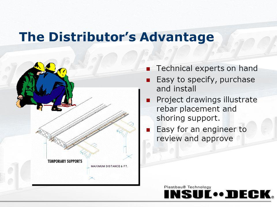 The Distributors Advantage Technical experts on hand Easy to specify, purchase and install Project drawings illustrate rebar placement and shoring sup